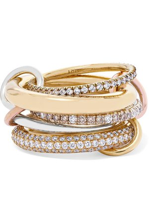 Spinelli Kilcollin | Nexus Blanc set of five 18-karat yellow and rose gold and sterling silver diamond rings | NET-A-PORTER.COM