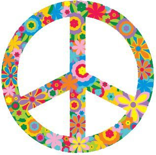 "Amazon.com: Flower Peace Sign / Symbol – Hippie, Peace / Anti-war Bumper Sticker / Decal (3"" circular): Automotive"