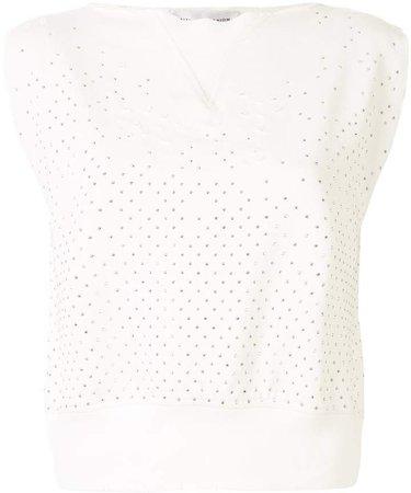 Crystal-Embellished Sleeveless Top
