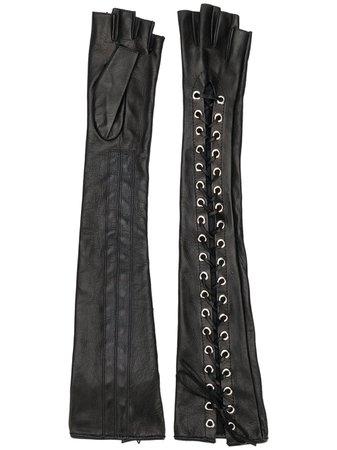 Manokhi Long lace-up Fingerless Gloves - Farfetch