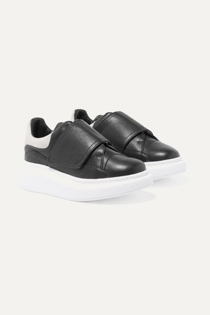 Suede-trimmed Leather Exaggerated Sole Sneakers - Black