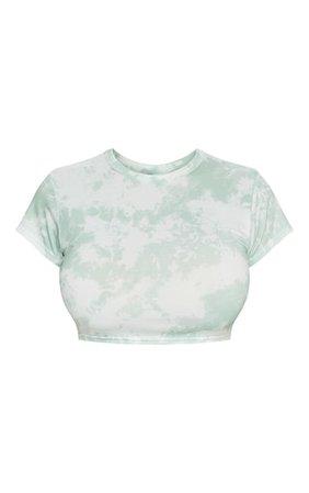 Shape Sage Green Tie Dye Short Sleeve Crop Top   PrettyLittleThing