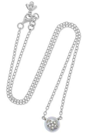 Carolina Bucci | Superstellar 18-karat white gold, pearl and diamond necklace | NET-A-PORTER.COM