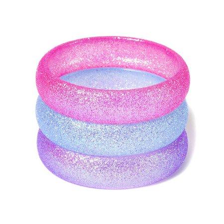 Pink, Purple, and Blue bracelets