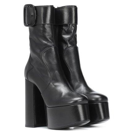Billy Platform Leather Ankle Boots - Saint Laurent