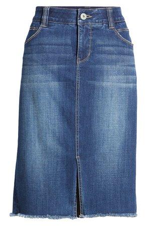 Jag Jeans Betty Fray Hem Denim Pencil Skirt | blue
