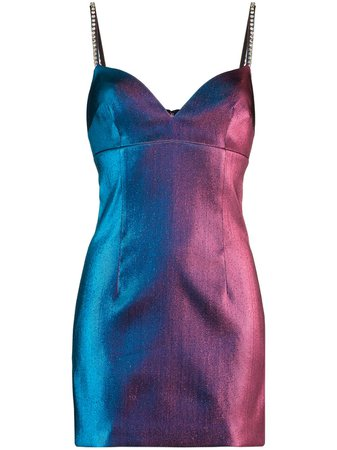 AREA crystal-embellished two-tone Mini Dress - Farfetch