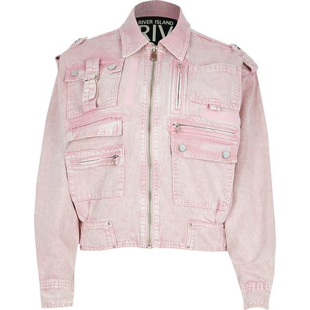 Pink pocket front denim biker jacket | River Island