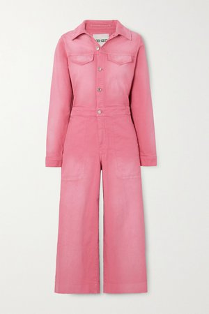Pink Cropped appliquéd denim jumpsuit   KENZO   NET-A-PORTER