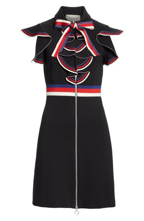 Gucci Web Ruffle Stretch Jersey Dress | Nordstrom