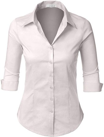 Women Roll Up Sleeve Button Down Shirt