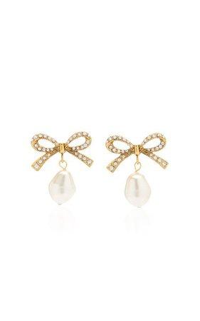 Noelle Pearl And Crystal-Embellished Brass Earrings By Jennifer Behr   Moda Operandi