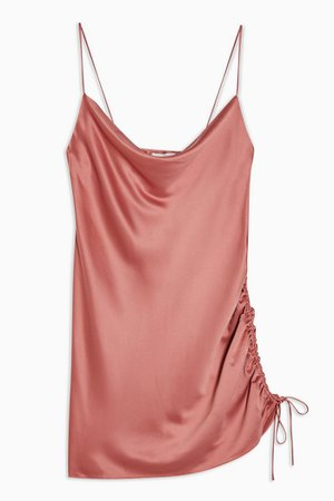 Rose Pink Ruched Satin Slip Dress | Topshop
