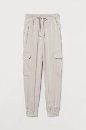 Satin Cargo Pants - Brown