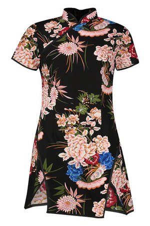 High Neck Floral Mini Dress | Boohoo