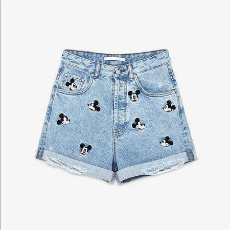 Zara Shorts | Disney Mickey Mouse Denim | Poshmark