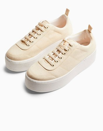 Topshop canvas lace up sneakers in natural | ASOS