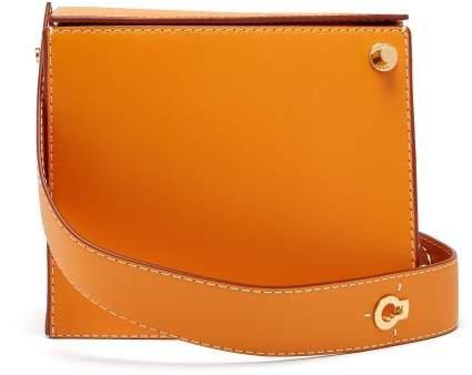 Zoe Leather Box Clutch - Womens - Orange