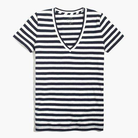 Striped V-neck cotton tee