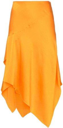mid rise asymmetric silk skirt