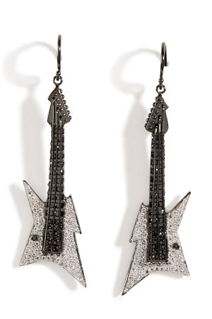 Black Rhodium Silver Guitar Earrings B in White Gr. One Size
