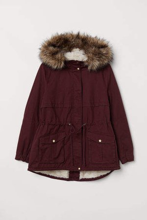 H&M+ Pile-lined Parka - Red