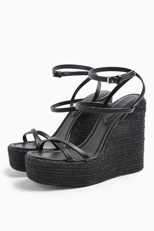 WILLA Black Wedge Sandals | Topshop