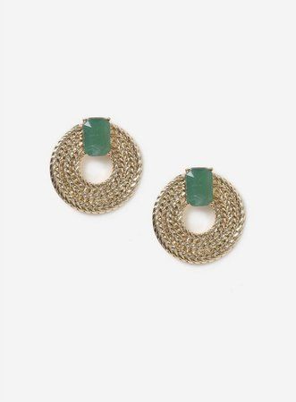 Gold Look Textured Stone Earrings | Miss Selfridge