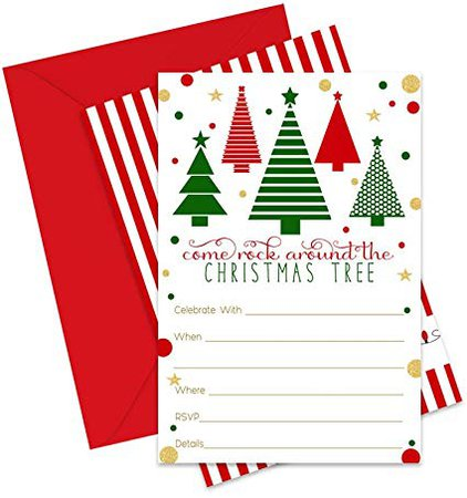 Amazon.com: Jolly Tree Christmas Party Invitations with Envelopes (Pack of 15) Fill in Invites Fun Holiday Parties, Festive Dinners, Fun Christmastime Celebrations Red, Green and Gold: Health & Personal Care