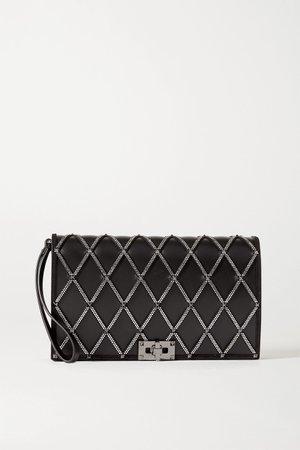 Black Valentino Garavani Beehive embellished leather clutch | Valentino | NET-A-PORTER