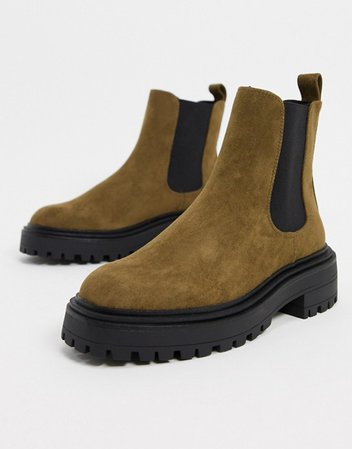 ASOS DESIGN Angelina chunky chelsea boots in khaki | ASOS