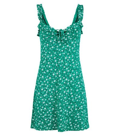 Green Ditsy Floral Lace Up Sundress   New Look