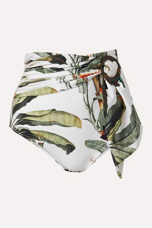 Belted Printed Bikini Briefs - Ivory