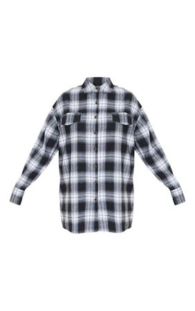 Black Checked Shirt   Tops   PrettyLittleThing USA