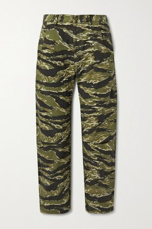 Emerson Printed Cotton-canvas Straight-leg Pants - Army green