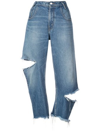 Monse Distressed Cropped Jeans - Farfetch