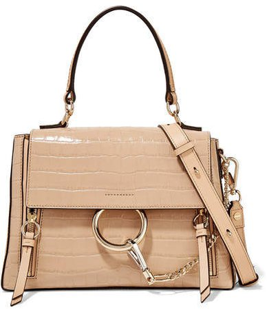 Faye Day Small Croc-effect Leather Shoulder Bag - Beige