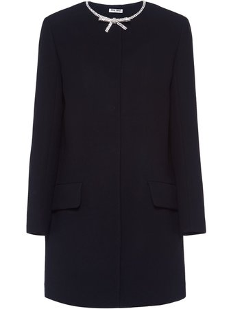 Black Miu Miu Embellished Bow Cady Coat | Farfetch.com