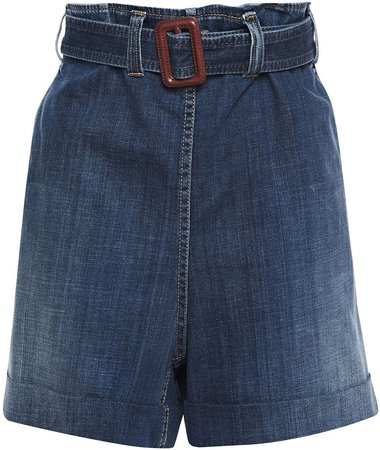 Belted Faded Denim Shorts