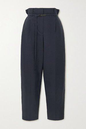 Belted Cotton-blend Straight-leg Pants - Navy