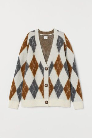 Jacquard-knit Cardigan - Cream/argyle - Ladies   H&M US