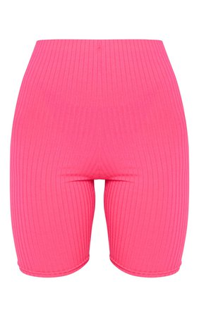 Hot Pink Ribbed Cycle Shorts   Shorts   PrettyLittleThing