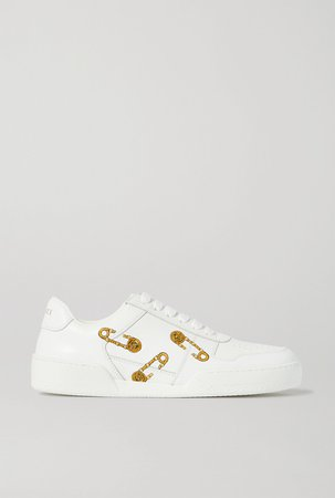 White Embroidered leather sneakers | Versace | NET-A-PORTER