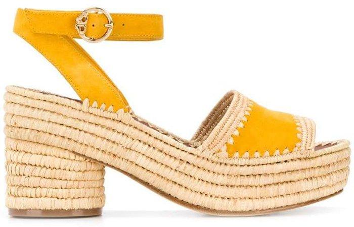 straw platform sole sandals