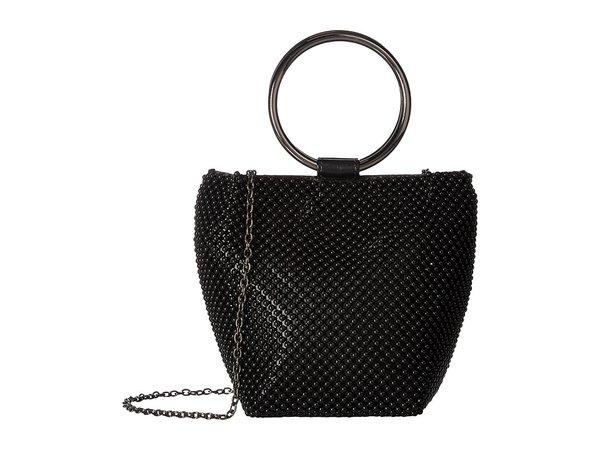 Jessica McClintock - Gwen Ball Mesh Ring Wristlet Pouch Clutch (Black) Clutch Handbags