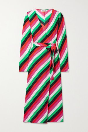 Tilly Striped Crepe Wrap Dress - Green