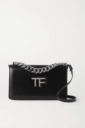 Tf Chain Medium Leather Shoulder Bag - Black