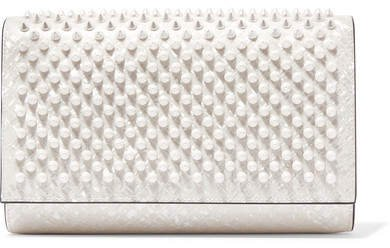 Paloma Spiked Patent-leather Clutch - White