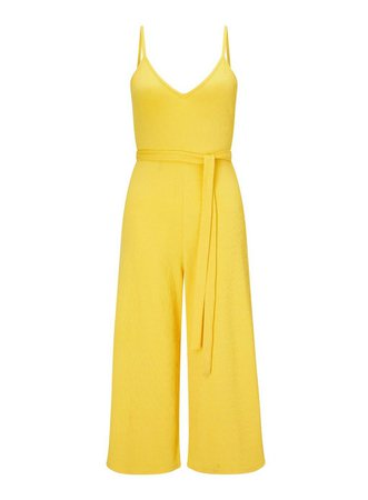 Yellow Ribbed Culotte Jumpsuit - Playsuits & Jumpsuits - Clothing - Miss Selfridge