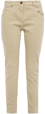 Bead-embellished Mid-rise Slim-leg Jeans